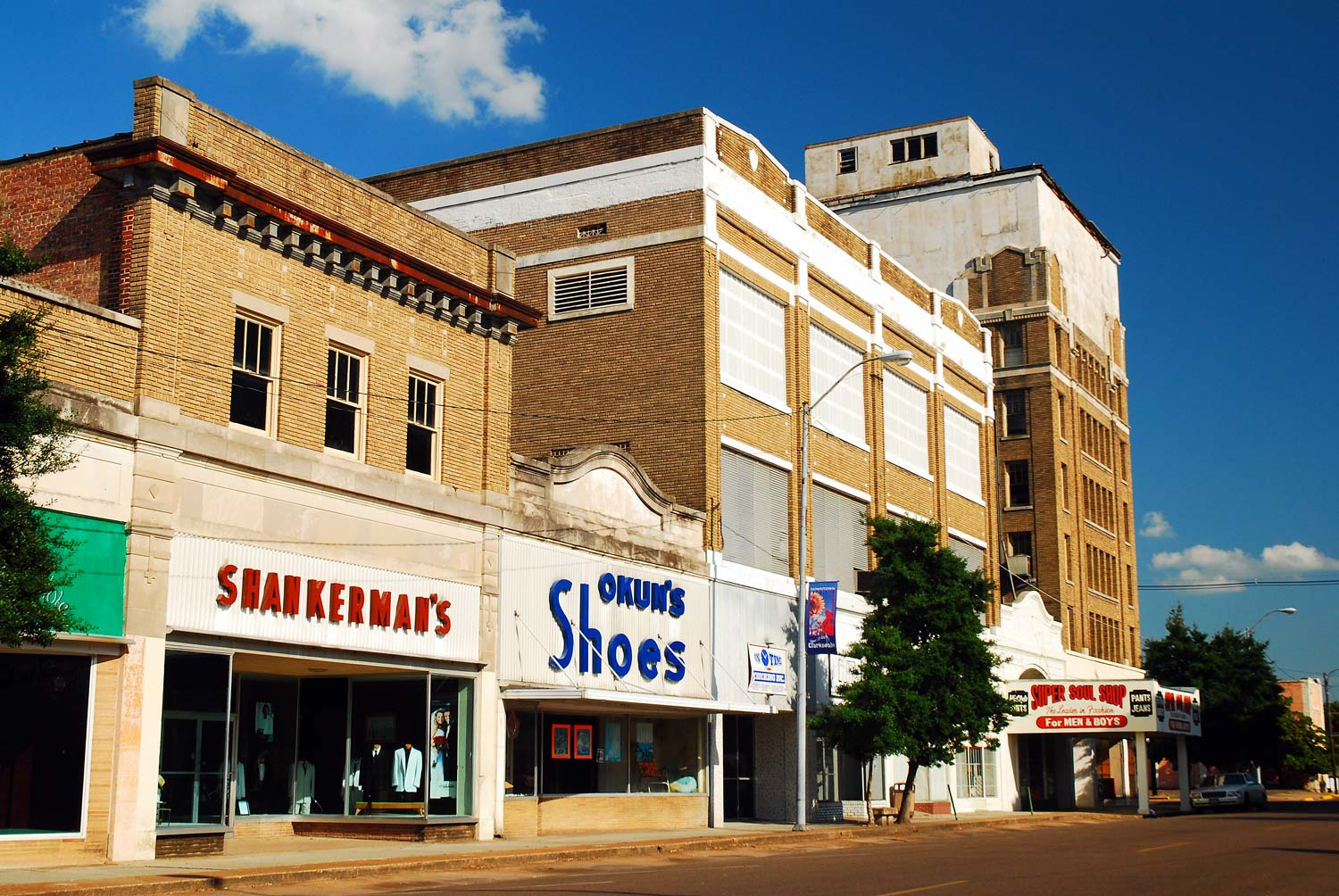 Downtown buildings in Clarksdale, Mississippi